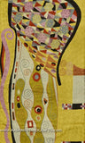 Klimt Mustard Silk Modern Abstract Rug / Tapestry Hand Embroidered 3ft X 5ft