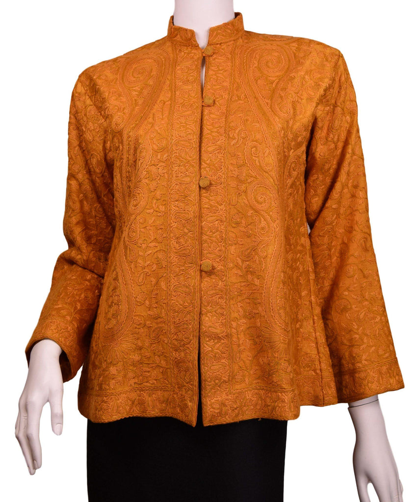 Clio Yellow Gold Paisley Silk Dinner Jacket Floral Evening Dress Coat Hand Embroidered Kashmir