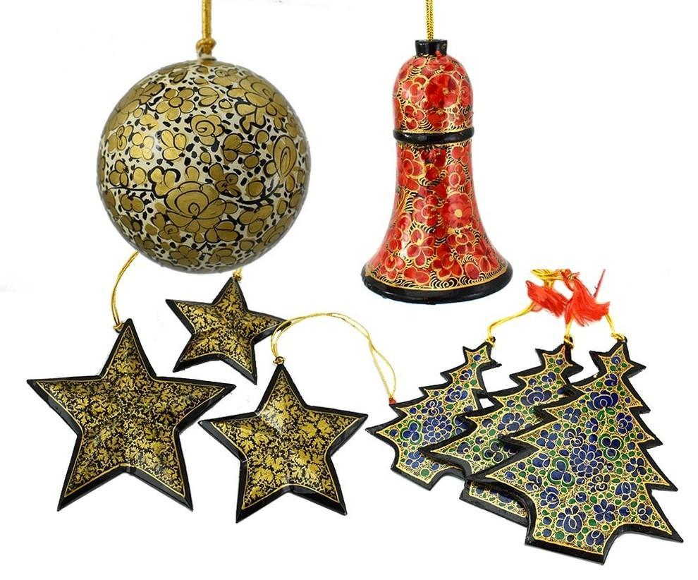 Holiday Christmas Ornaments, Hand Painted Ball, Bell, Tree and Star Sets - KashmirDesigns