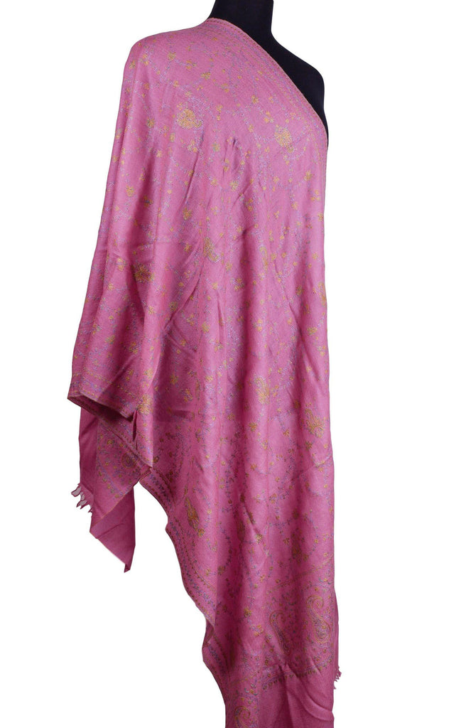 Horae Pashmina Ring Shawl Rogue Pink Antelope Handloom Suzani Needlework Wrap 27x76""