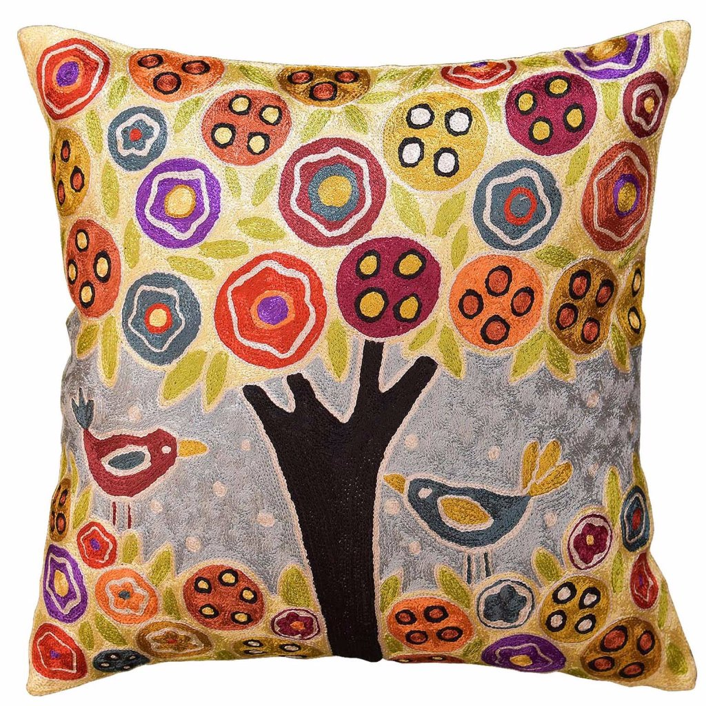 "Tree & 2 Birds in Bloom Karla Gerard Throw Pillow Cover Handmade Art Silk 18""x18"" - KashmirDesigns"