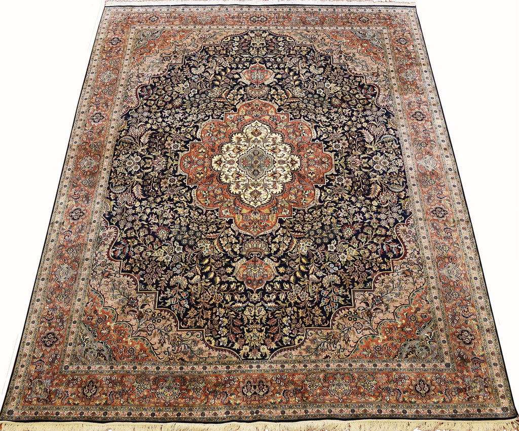 8x10ft Navy Isfahan Silk Rug Oriental Carpet Medallion HandKnotted