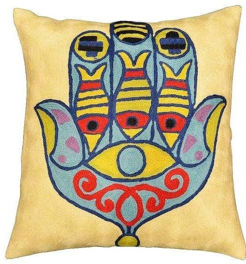 "Hamsa Eye Of Fatima Modern Pillow Cover Hand Embroidered 18"" x 18"" - KashmirDesigns"