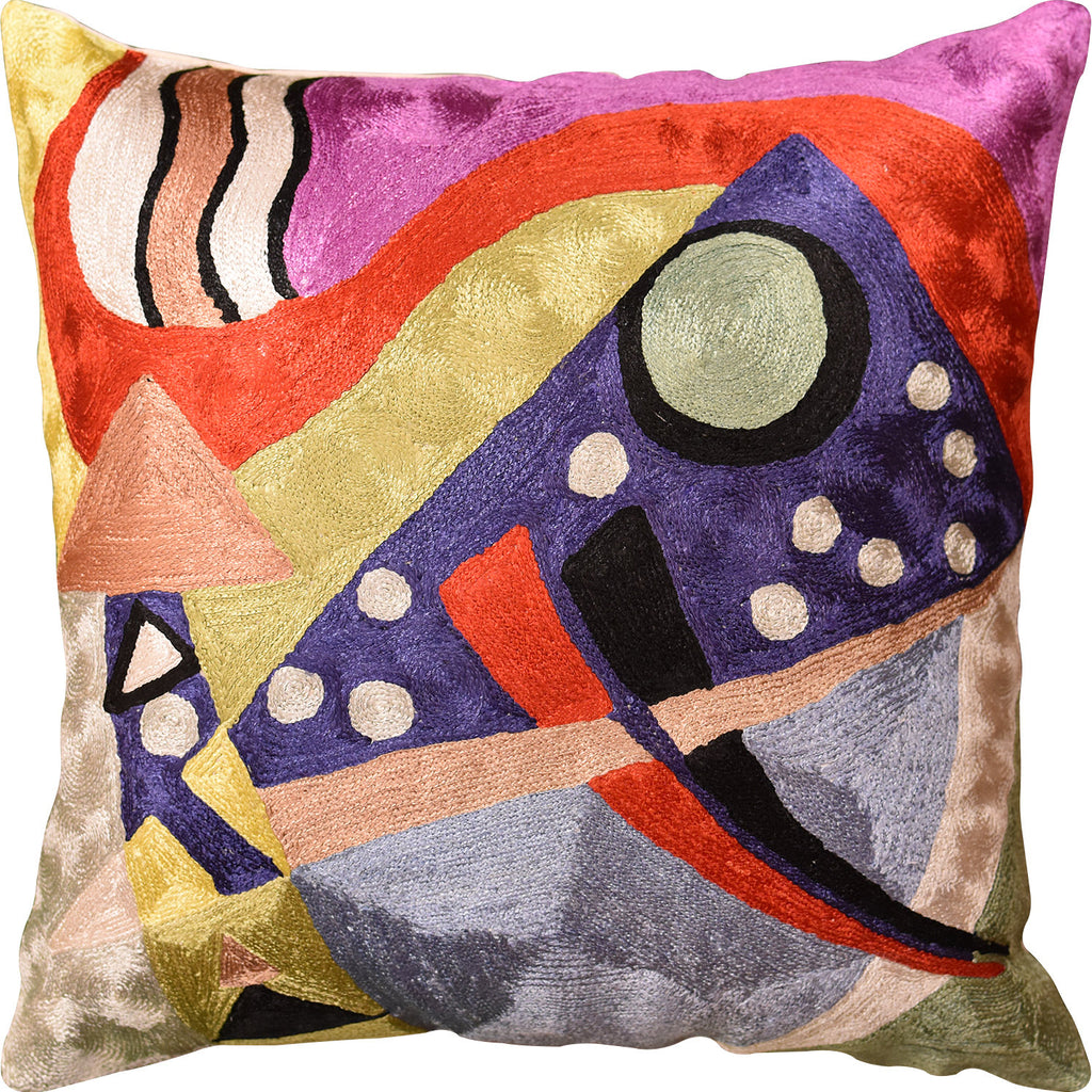 "Kandinsky Abstract II Navy Purple Accent Pillow Cover Handmade Art Silk 18""x18"" - KashmirDesigns"