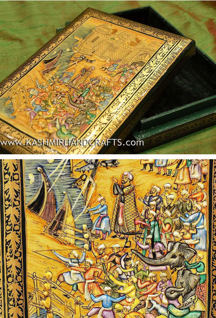 Paper Maché Collectible Jewelry Gift Decorative box Mughal Battle II