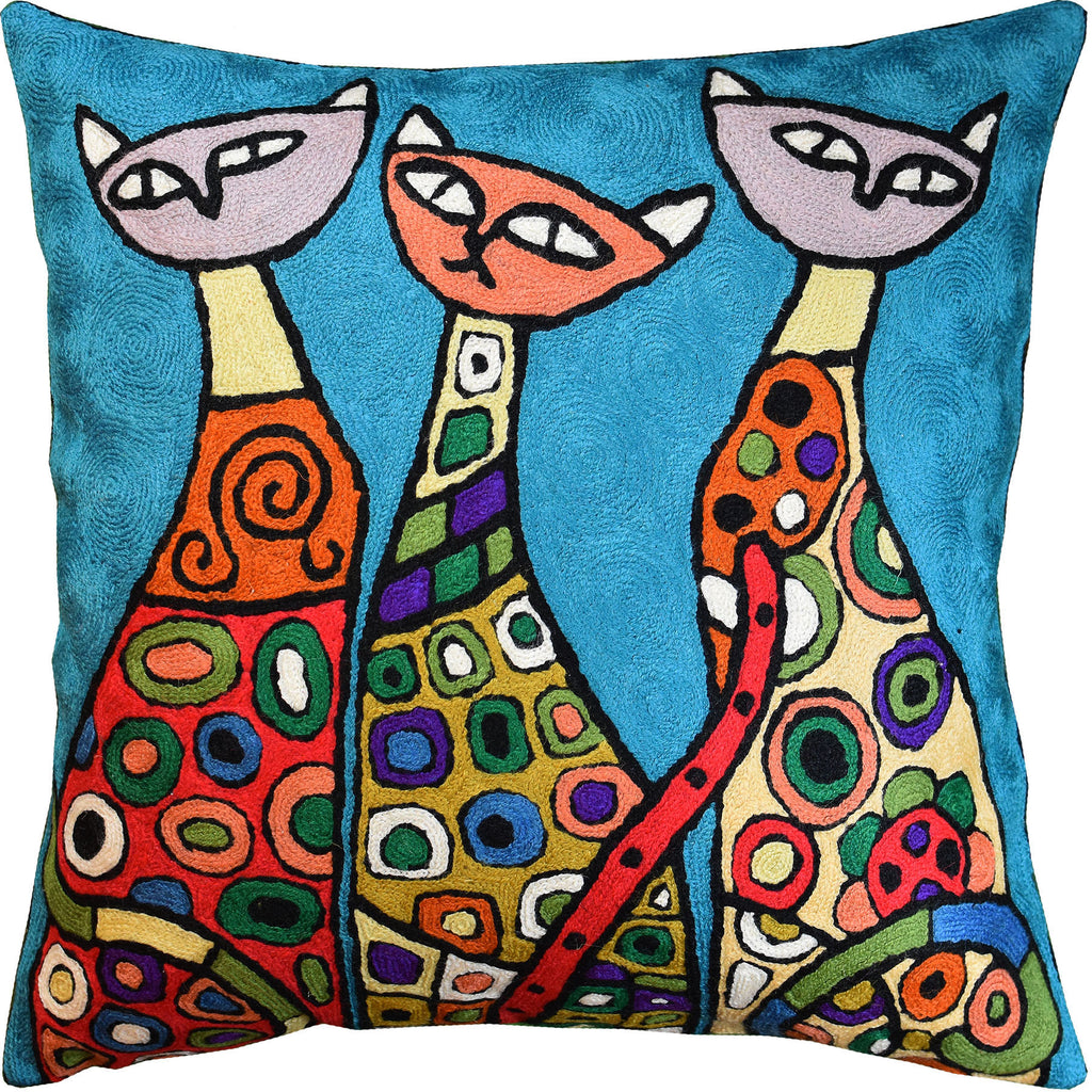 "Modern Cats Bright Turquoise Kitties Triplets Accent Pillow Cover Wool 18x18"" - KashmirDesigns"