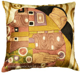 Klimt Kiss Silk Throw Pillow Cover Hand Embroidered 18
