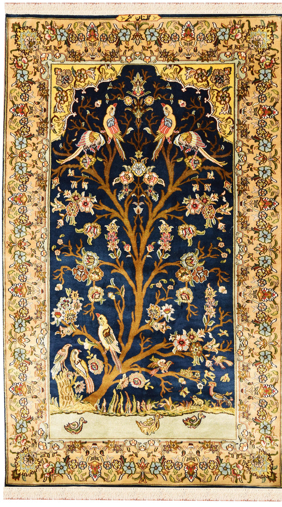 3x5 Tree Of Life Blue Silk Rug Birds Carpet Oriental Design Accent