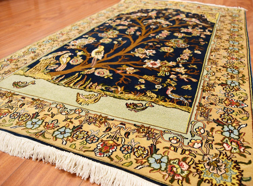 3\'x5\' Tree of Life Blue Silk Rug Birds Carpet Oriental Design Accent ...