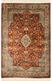 2.5'x4' Red Kashan Oriental Silk Rug Carpet Area Medallion Design Museum Quality