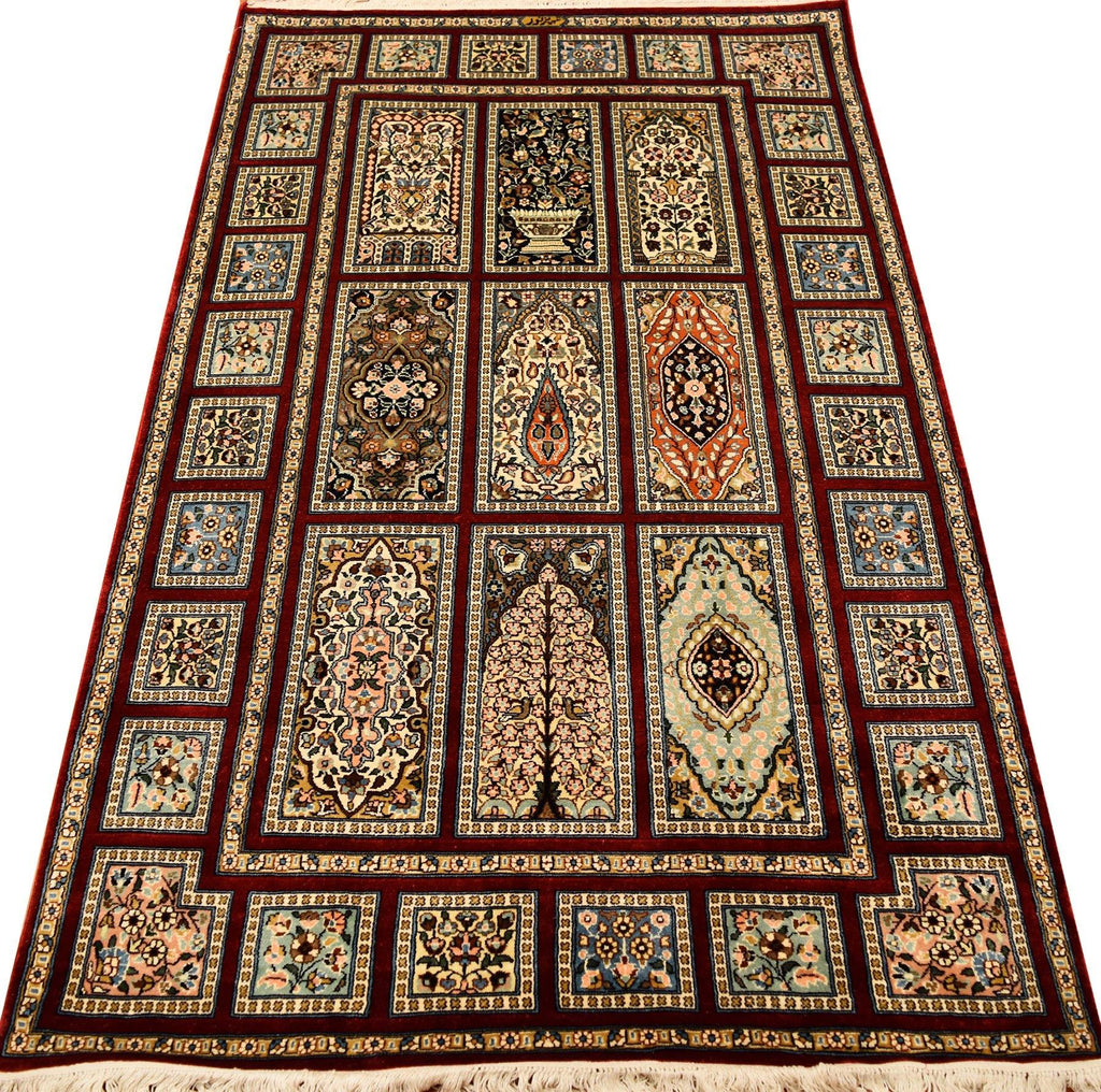 3'x5' Tree of Life Red Silk Rug Oriental Carpet Geometric Four Seasons Design - KashmirDesigns
