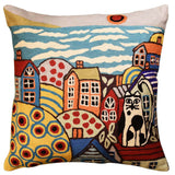 Sea Side Cat Karla Gerard Decorative Pillow Cover Handembroidered Wool 18