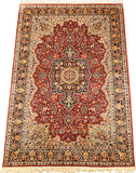 6'X4' Red Kashan Pure Silk Pile Salmon Green Oriental Area Rugs Carpet Hand Knotted