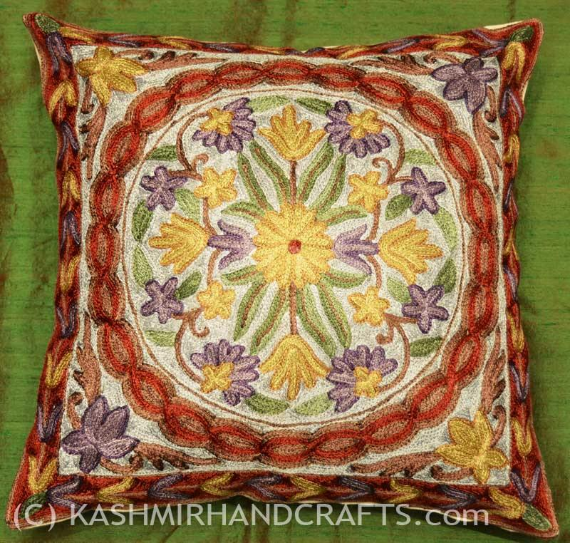 violets asters decorative cushion cover handembroidered