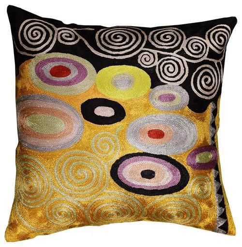 "Klimt Orange Black Swirls Decorative Pillow Cover Silk Hand Embroidered 18"" x 18"" - KashmirDesigns"