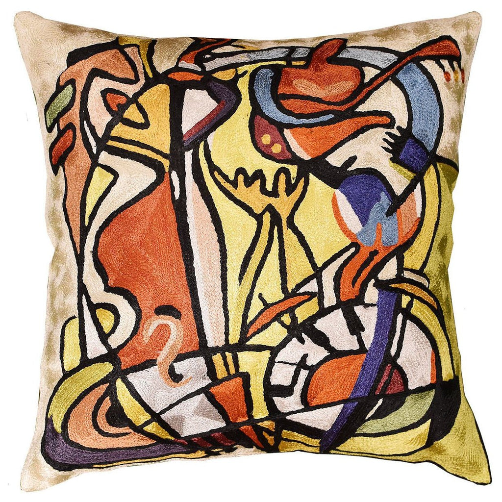 "Wild Party I by Alfred Gockel Accent Pillow Cover Handmade Art Silk 18"" x 18"" - KashmirDesigns"