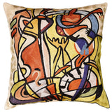 Wild Party I by Alfred Gockel Accent Pillow Cover Handmade Art Silk 18