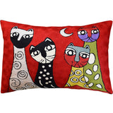 Lumbar Picasso Red Four Cats Rectangle Pillow Cover Handembroidered Wool 14x20