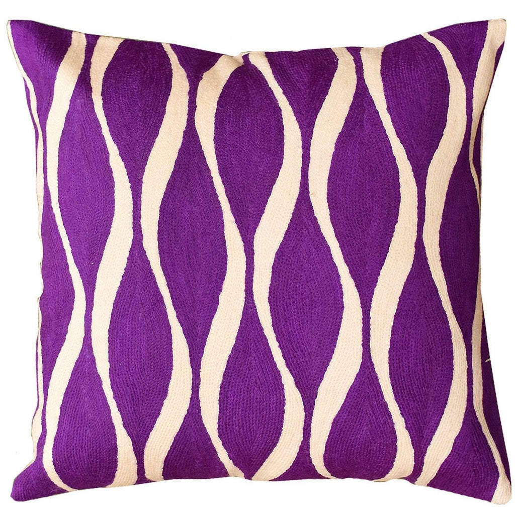 "Contemporary Waves Vivid Violet Decorative Pillow Cover Handmade Wool 18"" x 18"" - KashmirDesigns"