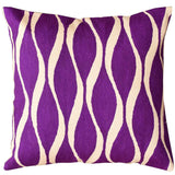 Contemporary Waves Vivid Violet Decorative Pillow Cover Handmade Wool 18