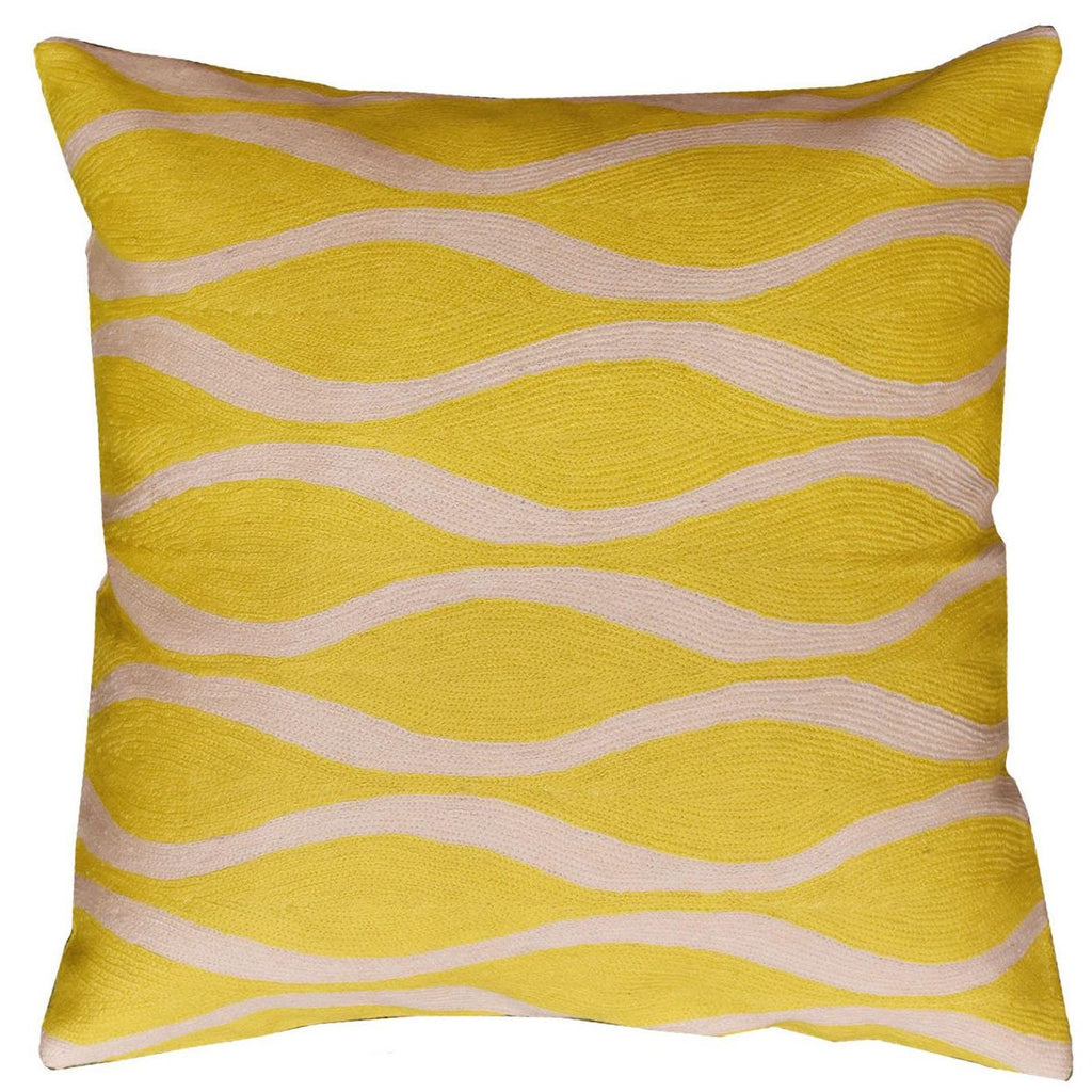 "Contemporary Waves Yellow I Decorative Pillow Cover Handmade Wool 18"" x 18"" - KashmirDesigns"