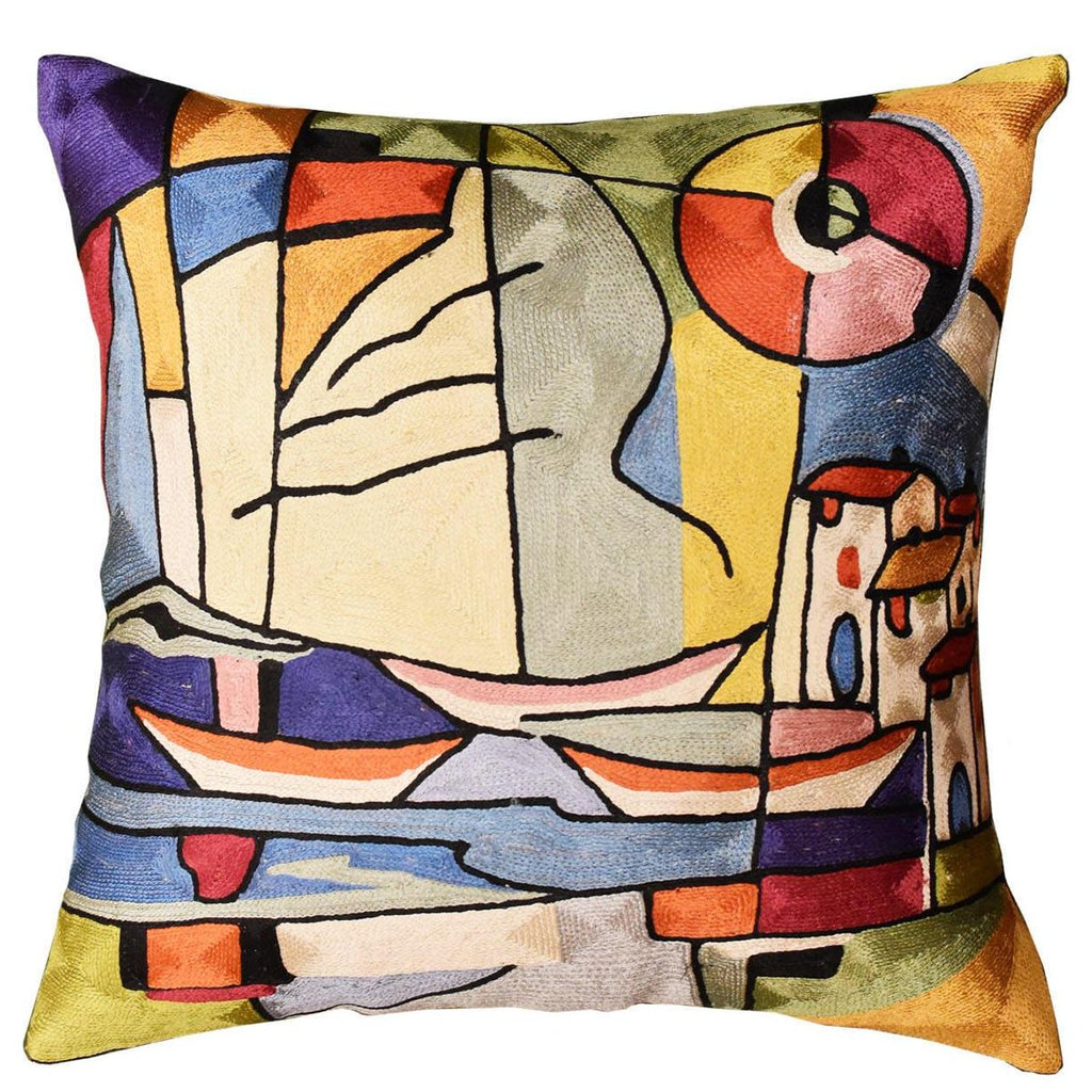 "Americana North Atlantic by Alfred Gockel Accent Pillow Cover Art Silk 18""x18"" - KashmirDesigns"