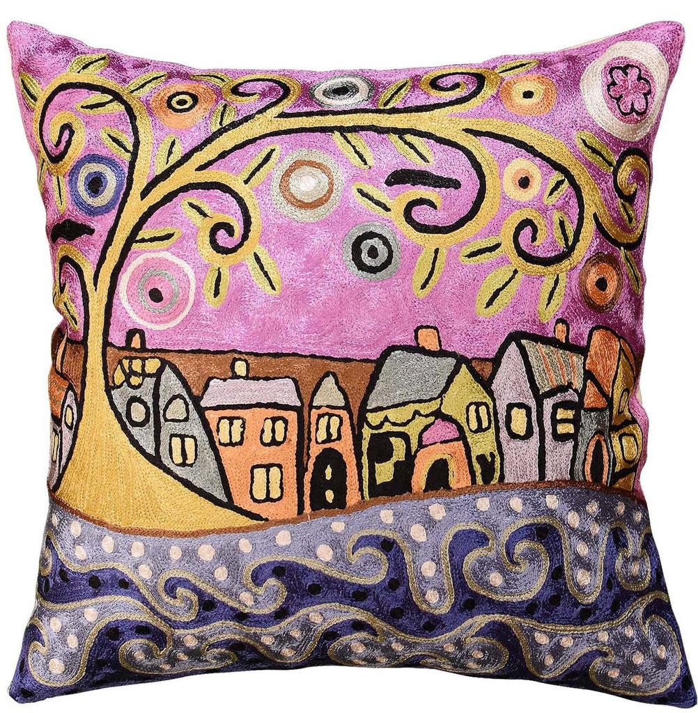 "By The Sea Karla Gerard Decorative Pillow Cover Handembroidered Art Silk 18""x18"" - KashmirDesigns"