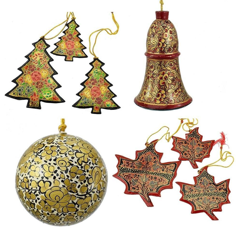 Holiday Christmas Ornaments, Hand Painted Ball, Bell, Tree and Maple Set - KashmirDesigns