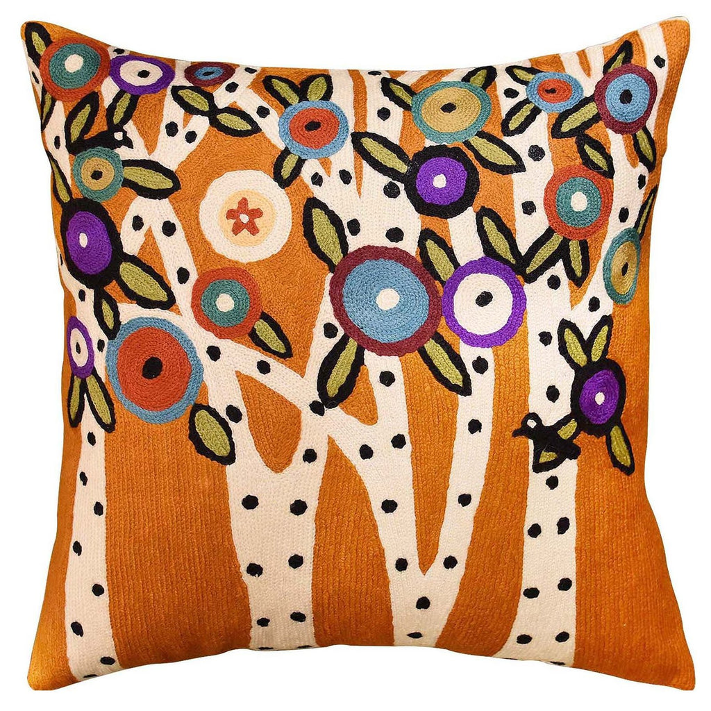 "Spring Blooms Karla Gerard Accent Pillow Cover Handembroidered Wool 18""x18"" - KashmirDesigns"