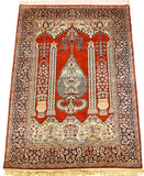 6'X4' Red Mehraab Rug Pure Silk Pile Oriental Carpet Area Rugs Hand Knotted