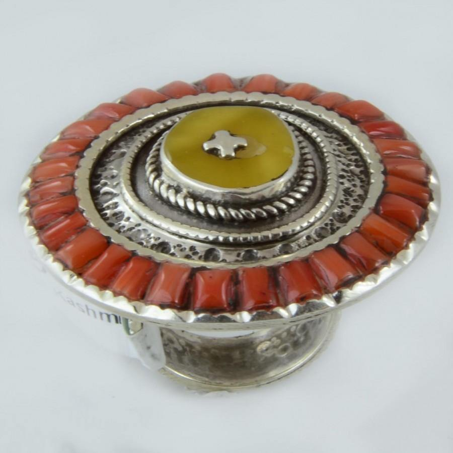 Size 6.5 Amber Coral Cocktail Ring Sterling Silver Round Rings