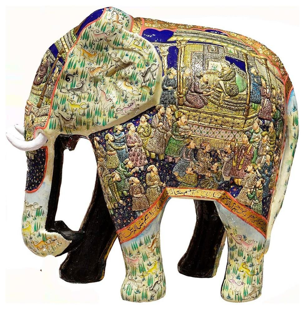 Ivory Blue Elephant Decorative Papier Mache Embossed Sculpture 13?H - KashmirDesigns