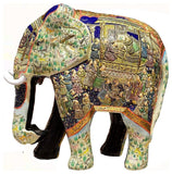 Ivory Blue Elephant Decorative Papier Mache Embossed Sculpture 13?H