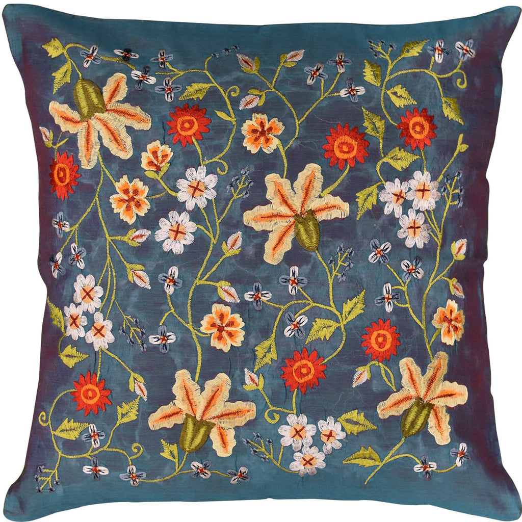 "Tropica Blue Floral Design Decorative Cotton Pillow Cover Embroidered 17""x17"" - KashmirDesigns"