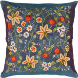 Tropica Blue Floral Design Decorative Cotton Pillow Cover Embroidered 17