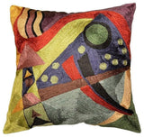 Kandinsky Cushion Cover Abstract Silk Navy Hand Embroidered 18