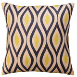 Contemporary Seamless Gray Yellow Accent Pillow Cover Handembroidered Wool 18