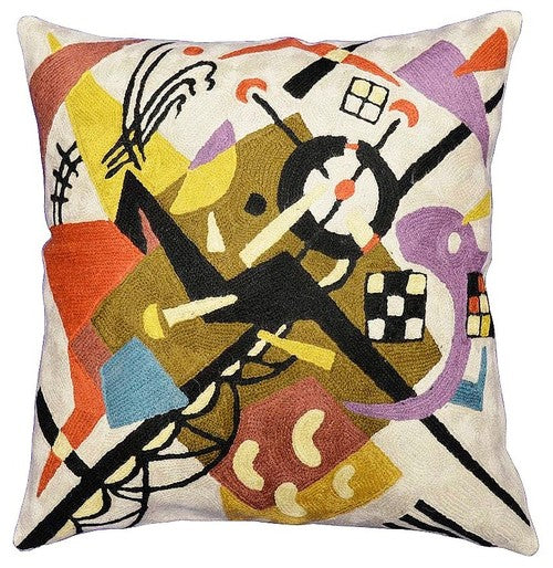 "Kandinsky Cushion Cover On White II Decorative Hand Embroidered Wool 18x18"" - KashmirDesigns"
