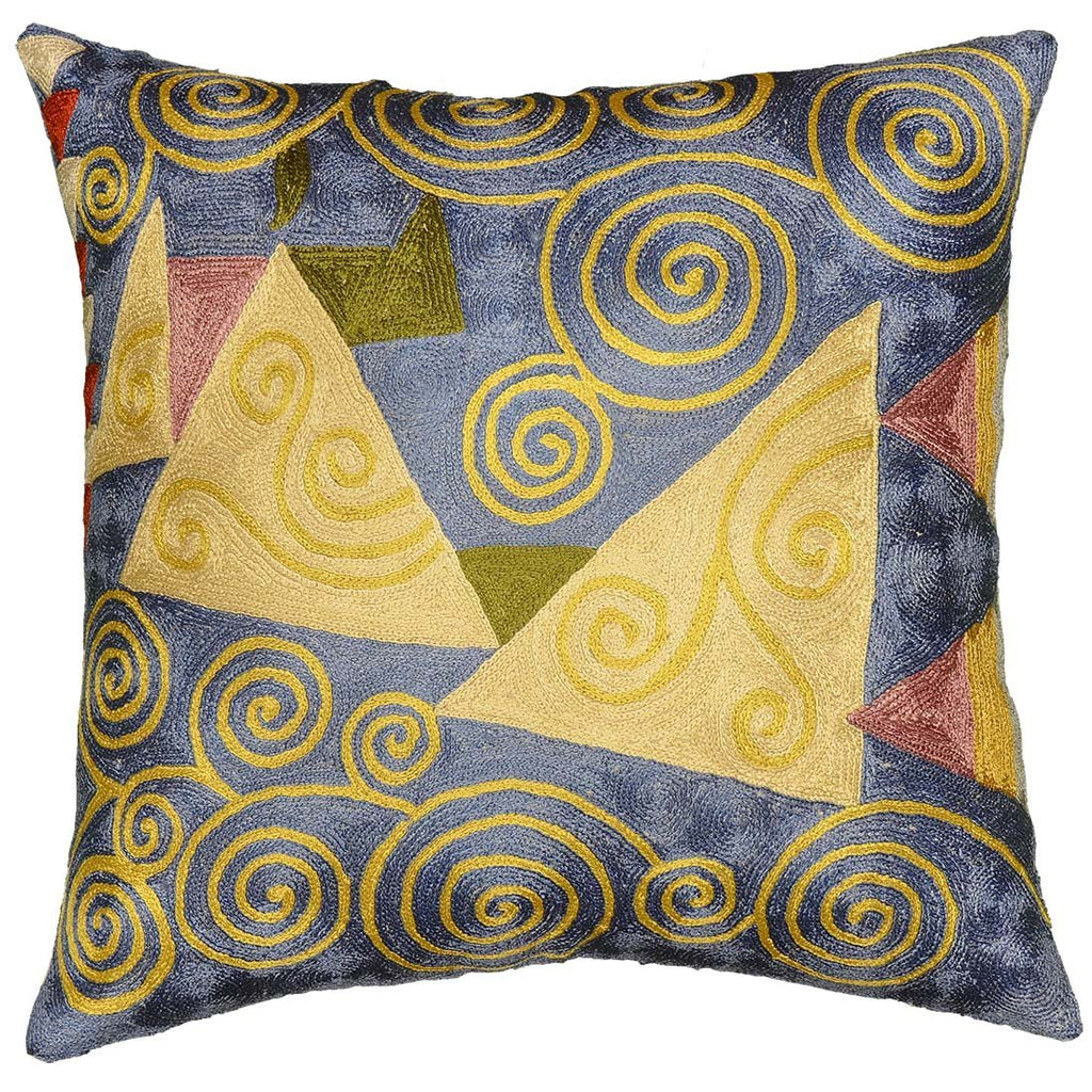 "Klimt Cushion Cover Blue Silk Jewel Tree Hand Embroidered 18"" x 18"" - KashmirDesigns"