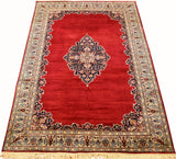 6x9ft Red Isfahan Silk Rug Oriental Carpet Open Design Medallion Kashmir Hand Knotted