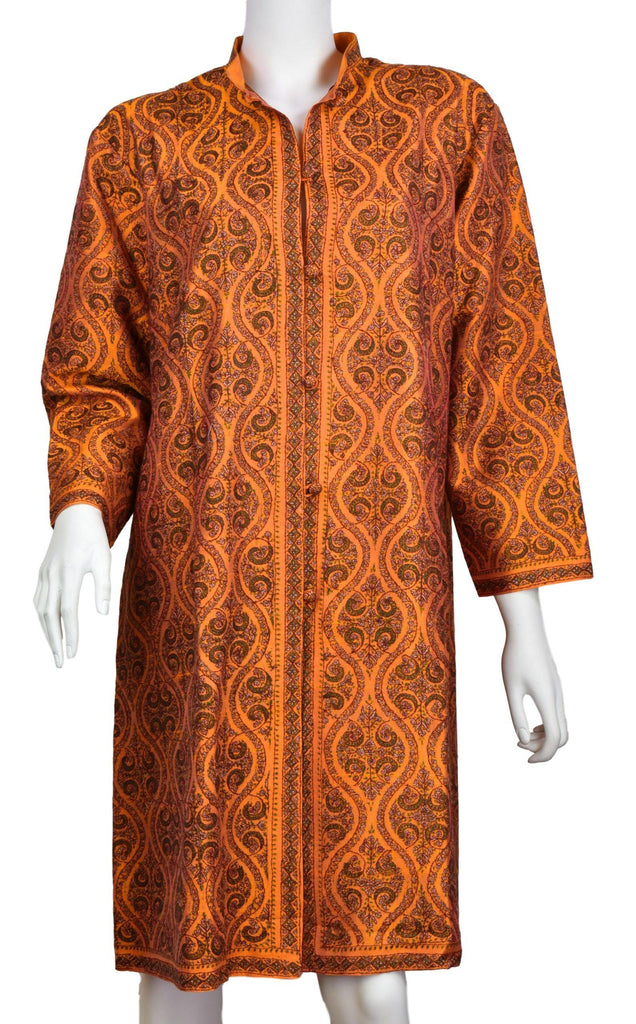 Pheme Orange Suzani Silk Jacket Dinner Evening Dress Coat Hand Embroidered Kashmir