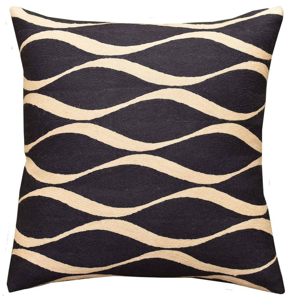 "Contemporary Waves Slate Gray I Decorative Pillow Cover Handmade Wool 18""x18"" - KashmirDesigns"