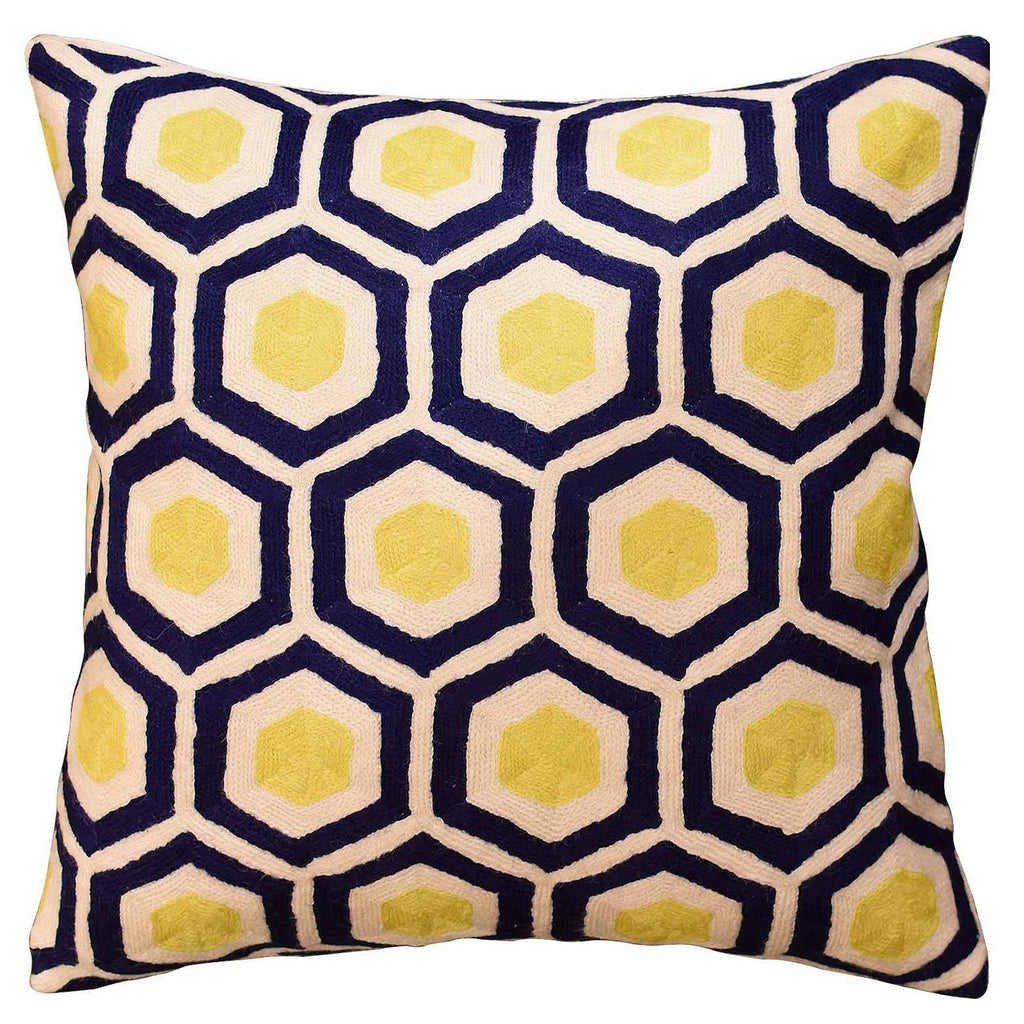 "Contemporary Honeycomb Navy Yellow Decorative Pillow Cover HandmadeWool 18""x18"" - KashmirDesigns"