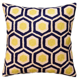 Contemporary Honeycomb Navy Yellow Decorative Pillow Cover HandmadeWool 18