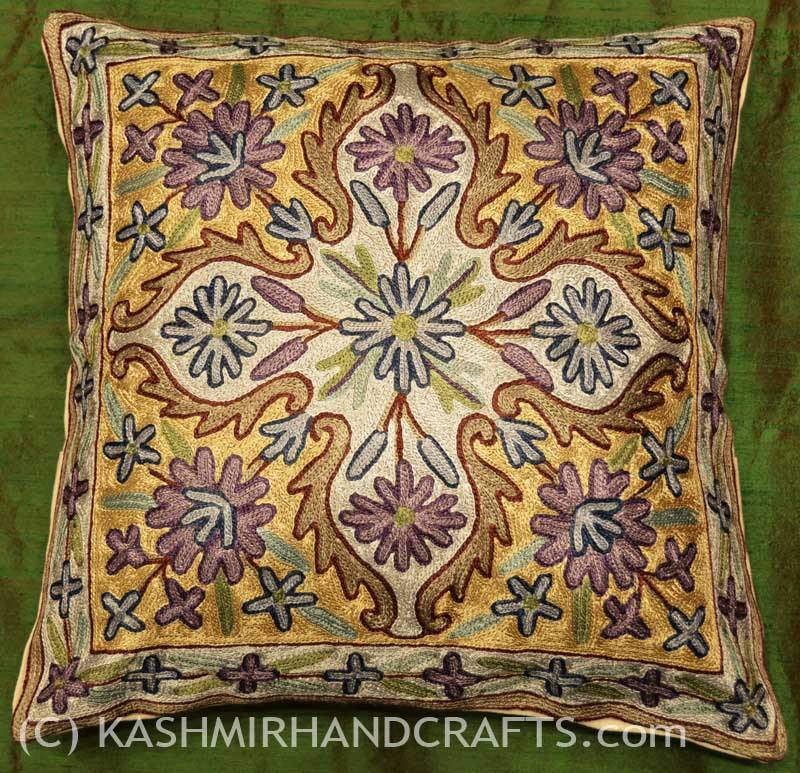 amethyst floral arabesque pillow cover handembroidered
