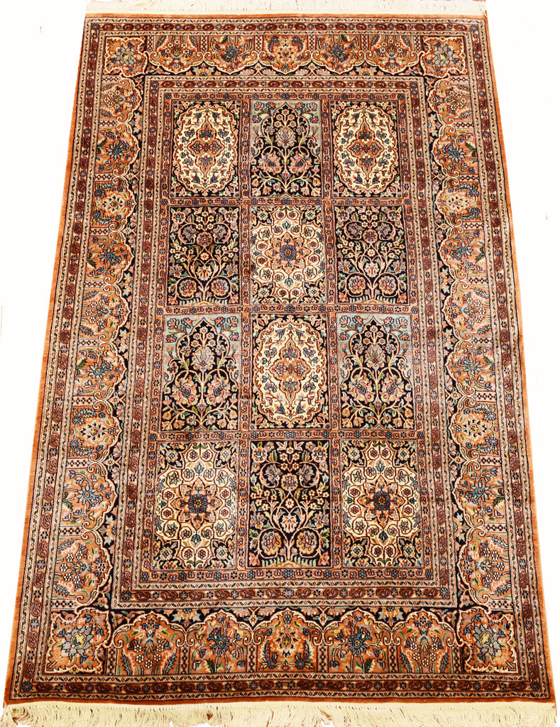 6'X4' Hamdan Tree Of Life Rug Pure Silk Pile Oriental Area Rugs Carpet Hand Knotted