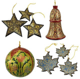 Holiday Christmas Ornaments, Hand Painted Ball, Bell, Star and Maple Set