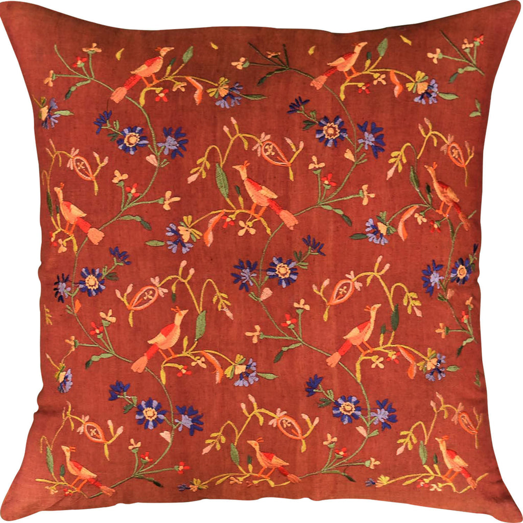 "Parakeet Rust Tree of Life Decorative Cotton Pillow Cover Embroidered 18""x18"" - KashmirDesigns"