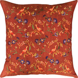 Parakeet Rust Tree of Life Decorative Cotton Pillow Cover Embroidered 18