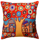 Red Tree Karla Gerard Decorative Pillow Cover Handembroidered Wool 18